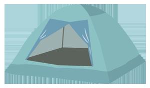 テントの使用可能サイズは2m×2m以内です。